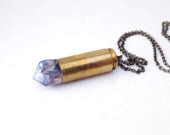 XL Iridescent Amethyst Bullet Necklace- OOAK
