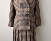 Vintage Late 40s Early 50s Wool Houndstooth Suit by Natalie Green sz. M/L