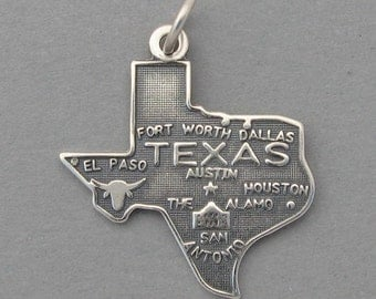 Sterling Silver .925 Charm Pendant TEXAS State Map SC642