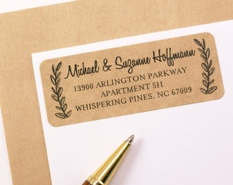 Custom Address STAMP or LABELS with Side Wreath || custom return address labels || stationery, wedding stamp, save the date