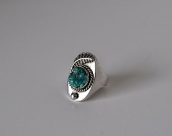 Mens Native American Sterling and Turquoise Ring