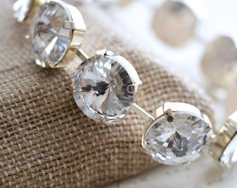 Crystal Bracelet, Silver Plate Crystal, Bridesmaid Bracelet, Swarovski Crystal Bracelet, Rivoli Bracelet