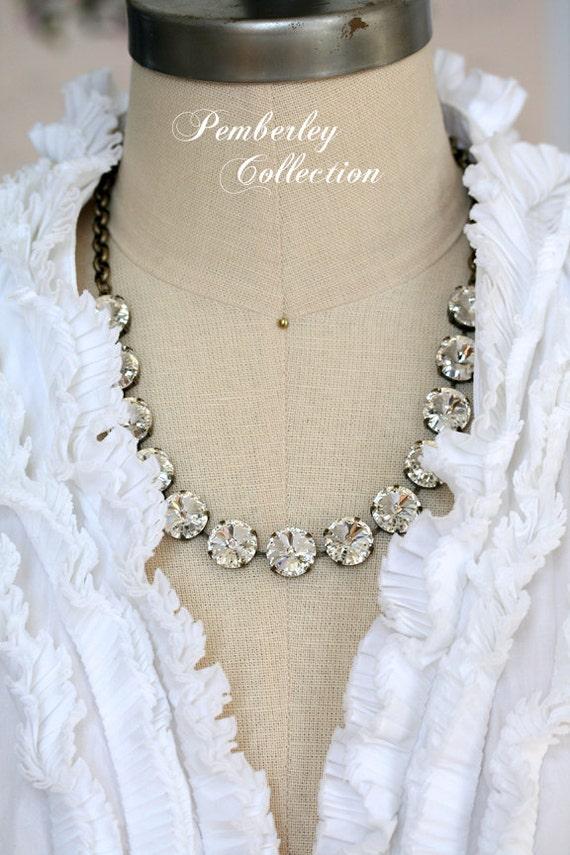 Swarovski Crystal Necklace, 14mm Rivoli Necklace, Bridesmaid Necklace, Statement Necklace, Rivoli Necklace, Bridal Necklace