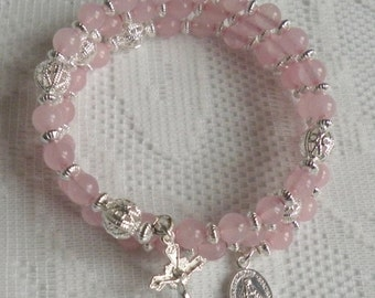 Five Decade Catholic Rosary Bracelet - Rose Quartz with Small Miraculous Medal - Available in Gold or Silver