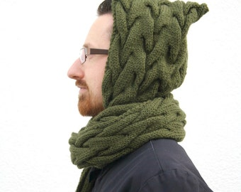 Hooded Scarf, Green Scarf with Hood, Army Green Scoodie, Scarf Hoodie, Hand Knitted Hood Scarf, Winter Fashion, Mens Fashion, Gift for her
