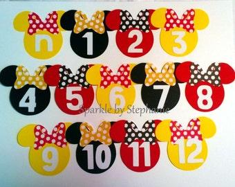 "Minnie Mouse Picture Banner Heads - Newborn - 12 months - 2.5"""
