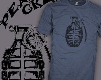Peace Bomb Protest T-Shirt - Vintage War Grenade Shirt - Classic Rebel Rocker Tee