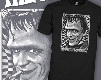 The Cramps Psychobilly T-Shirt - Bikini Girls With Machine Guns - Herman Munster Shirt - Hellbilly Shirt