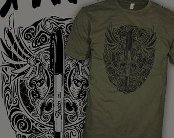 Sharpie Marker Shirt - Kustom Kulture Shirt - Hand Drawn Stencil Punk Art T-Shirt - FREE SHIPPING