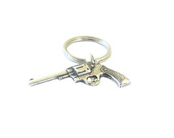 Gun Keychain- Sterling Silver Ox Finish- Pistol Keychain