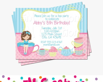 Tea Party Birthday Party Printable Invitation - Tea Party Printable Invitation- Tea Party Invite