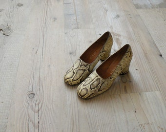 Vintage 1960s shoes. python heels. deadstock leather heels