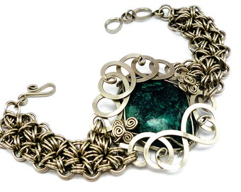 Turquoise Bracelet, Chainmaille Bracelet, Silver Bracelet, Chain Bracelet, Gemstone Bracelet, Blue Turquoise, Statement Bracelet