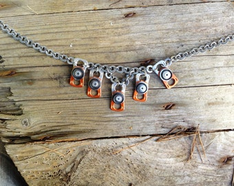 Stainless Steel Chain, Orange Necklace, Recycled Ring Pulls and black Rubber