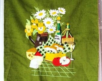 Vintage Embroidered Linen Wine Basket Themed