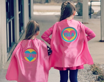 Girls PERSONALIZED SUPERHERO HEART Cape - Ships Next Day - Halloween Ready - Customized Name