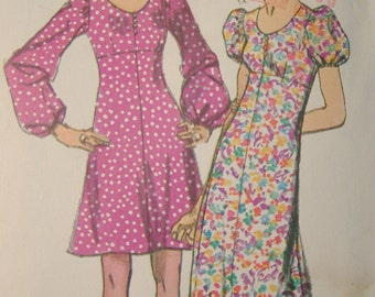 Simplicity 9446 Vintage 1970's Empire Waist Maxi or Mini Dress Pattern with Puff Sleeves - Junior size 9 -Bust 32