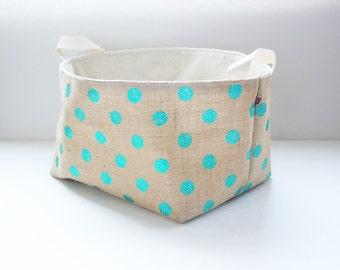 Large Jute Fabric Basket / Organizer / Bin / Toy Storage - Metallic Emerald Green Polka Dots