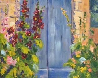 Original Landscape oil painting, palette knife oil painting, 'Hollyhock Village 2' Impressionist Landscape, Provence Village, French Village