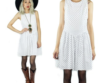 90s polka dot b&w shorts romper - one piece dress shorts - sleeveless smocked back playsuit - small S