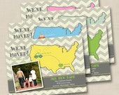 We've Moved Announcement Custom Photo Postcard with Map - single sided design