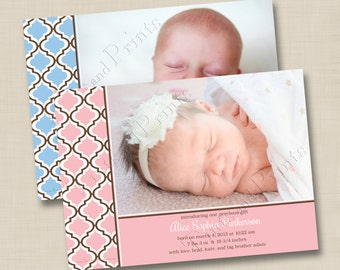 Modern Quatrofoil Custom Baby Photo Birth Announcement or Baptism or Christening Announcement Design