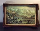 Vintage Tray, Revamped, Stained With Découpage Currier And Ives Bold Buffalo 'The Rocky Mountains' Recylcled, Landscape Traditional Style