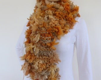 Brown scarf - Hand knit winter scarf - faux fur scarf - long winter scarf - Chunky Knit Scarf