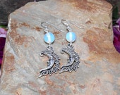 Opalite Moon Earrings - Crescent moon Earrings - Gemstone Moon Earrings
