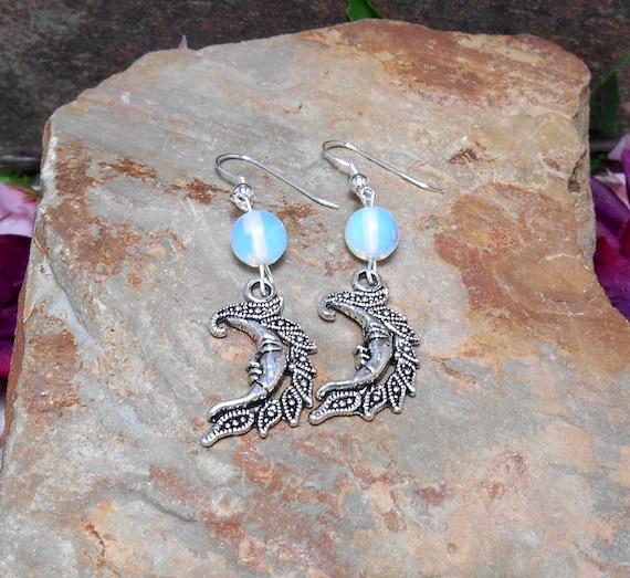Opalite Moon Earrings - Crescent moon Earrings - Gemstone Moon Earrings