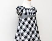 Girls Dress, Christmas Dress, Holiday, peasant dress, black and white, gingham, check, 12-18 ms, 2t, 3t, 4t, 5t, 6