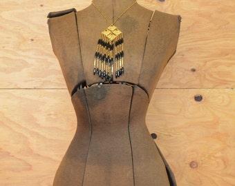 Vintage 60's Necklace Gold & Black Diamond Fringe Bold Beauty