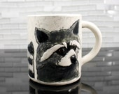 Raccoon Mug | woodland animal coffee mug tea cup | gray black white | original handmade hipster mug | made to order | featured on Etsy Blog
