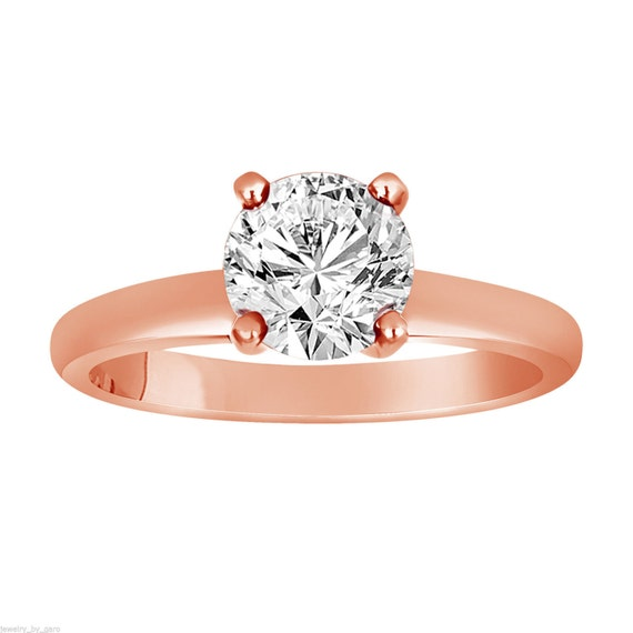 0 50 Carat Solitaire Diamond Engagement Ring 14K Rose Gold