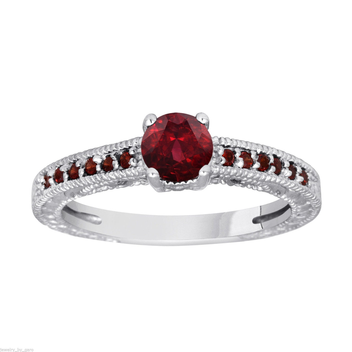 Garnet Ring Bands: Red Garnet Engagement Ring 14K White Gold 1.15 Carat Certified