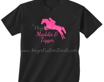 Youth Kids Girls Personalized Jumping Horse Jumper Tee  Shirt Tshirt YOU CHOOSE COLORS! Hunter Jumper