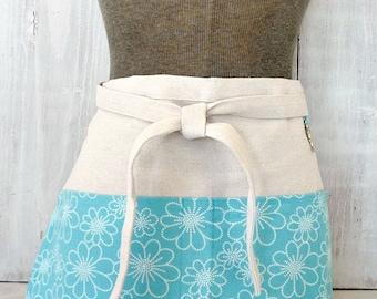 Cute Half Apron With Pockets - Aqua Apron - Turquoise Blue Teacher Apron - Vendor - Garden