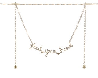 Feed Your Head Necklace - Turn On, Tune In, Drop Out - Magic Mushroom Festival Jewelry - Alice In Wonderland Quote Jewelry