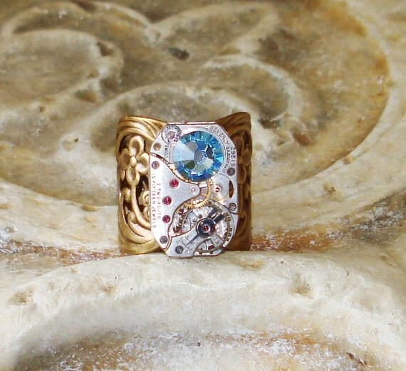 Steampunk Cuff Ring Vintage Watch Movement Aquamarine Crystal March Birthstone  C 6-3