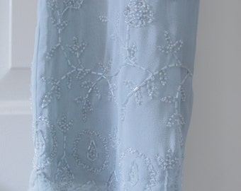Summer Wedding Blue Beaded Pants Alternative Wedding Newport News Shape FX Formal Sz 8 Elegant Special Event Women's Party Pants