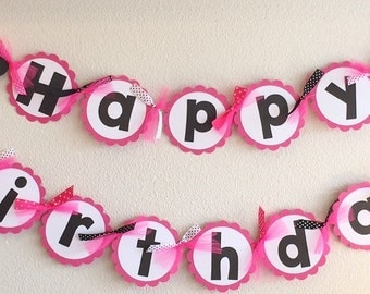 Minnie Mouse Birthday Banner | Hot Pink | With Matching NAME Banner