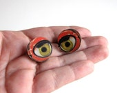 creepy doll eye collar pins . scatter pin set of 2 . wooden doll eye brooch set . doll eye tie tack pins . Halloween lapel pins . #C