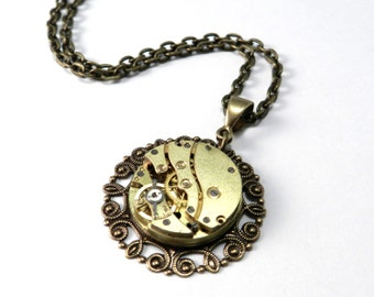Steampunk Necklace, Antique Brass Watch Movement, Clockwork Necklace, Steampunk Jewelry by compassrosedesign