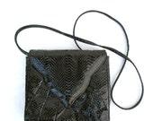 Vintage Clutch Snake Skin Bag Black Leather Small Shoulder Bag 1980 80s