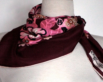 Vintage Clifford Bond  Floral 1960s Scarf  // SILK // 60s 70s Square Scarf  // Purple Pink