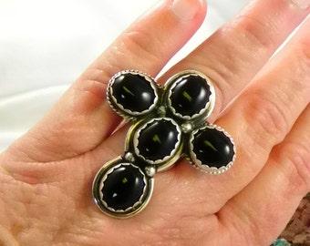 Huge Black Onyx Sterling Ring