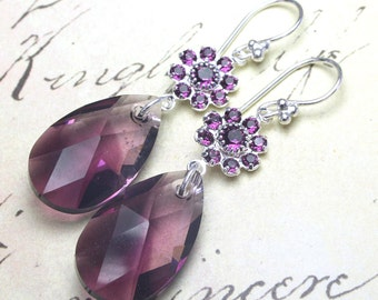 Purple OmbreTeardrop Earrings -  Swarovski Crystal and Sterling Silver Earrings in Amethyst