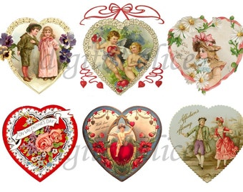VICTORIAN VALENTINE HEARTS - Instant Digital Download - Antique Valentine Collage Sheet Printable - Sweetheart Hearts