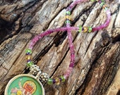 Pink Tourmaline Beaded Pendant Necklace,Natural Gemstones & Sterling Silver Beaded Necklace,Ganesha,Yoga,Chakra Necklace,Birthstone Necklace