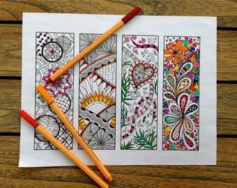 Printable Bookmarks - Bookmark Coloring Page - Zentangle Inspired - Digital Download - Bookmark Number 1
